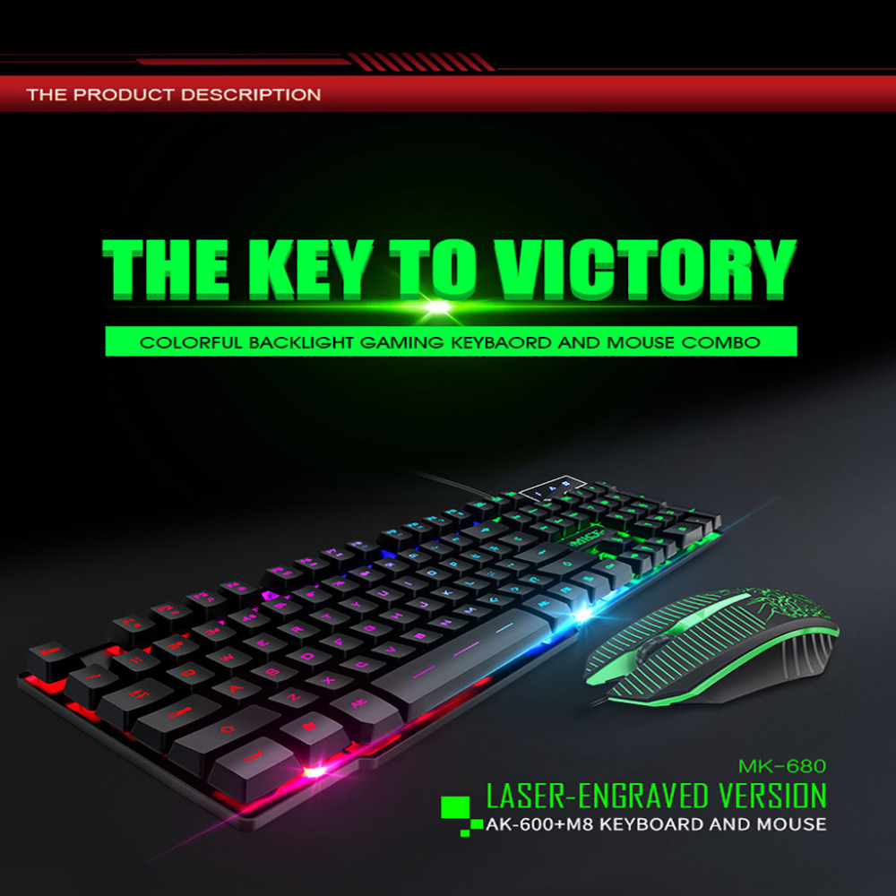 2019 New most popular 104keys MK 680 Gaming Mouse And Keyboard Desktop Notebook Floating Keycap Backlit