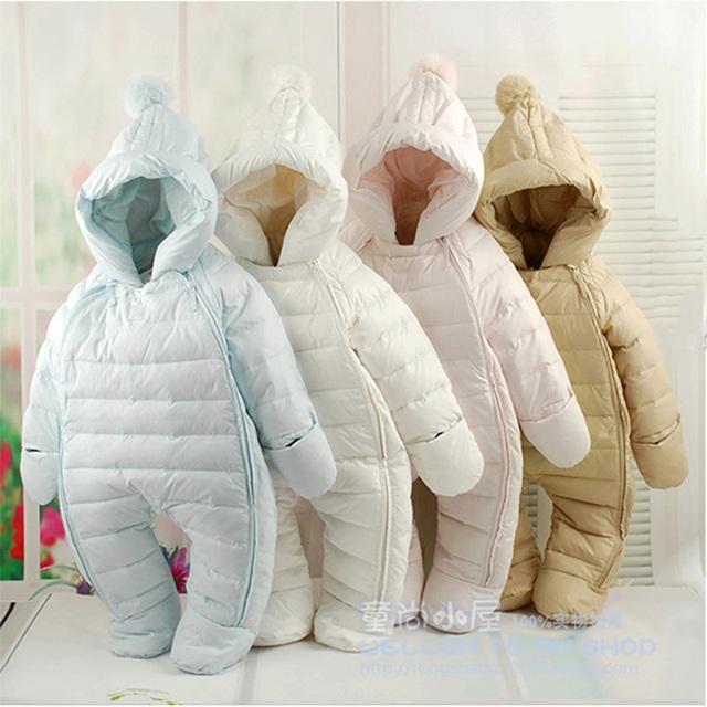Macacão infantil snowsuit outwear grosso quente para baixo casaco de inverno menina roupa do bebê macacões Novo menino infantil com capuz snowsuit