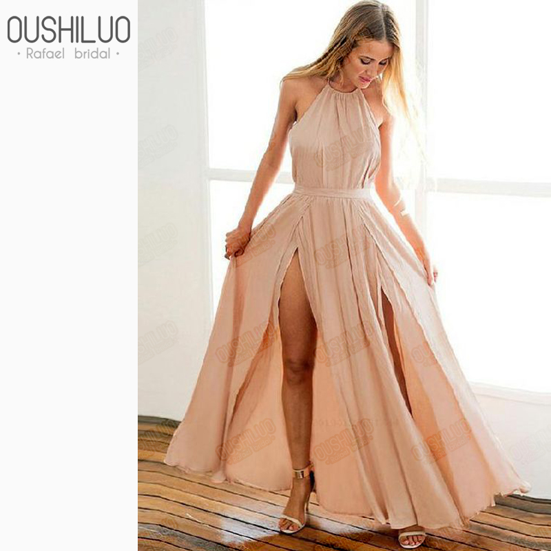 Colorful Champagne Elastic Satin A Line Backless   Prom     Dresses   Gown Halter Neck Front Split Long Evening Party   Dress   Customized