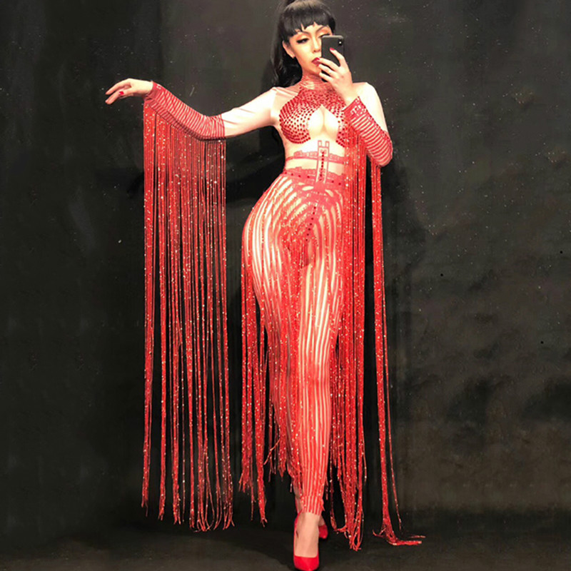 Glisten Crystal Red Jumpsuit Sexy Long Tassel Rhinestone Dress Women Outfit Nightclub Singer Costume Stage Dance