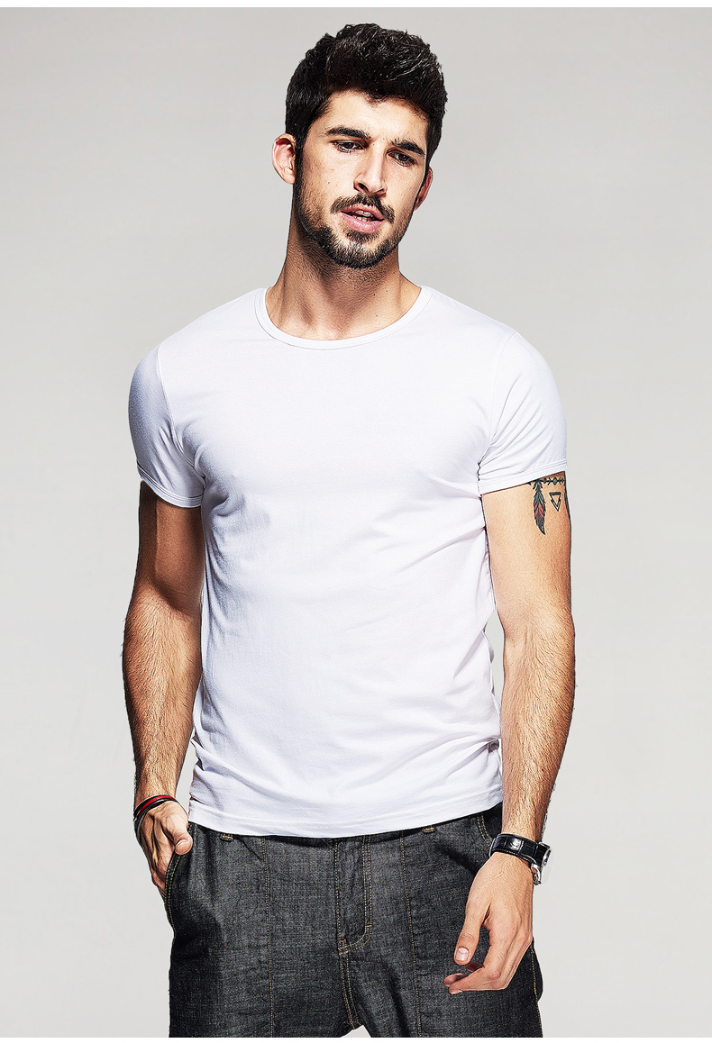 KUEGOU Summer Mens Casual T Shirts 10 Solid Colors Brand Clothing Man's Wear Short Sleeve Slim T-Shirts Tops Tees Plus Size 601 23