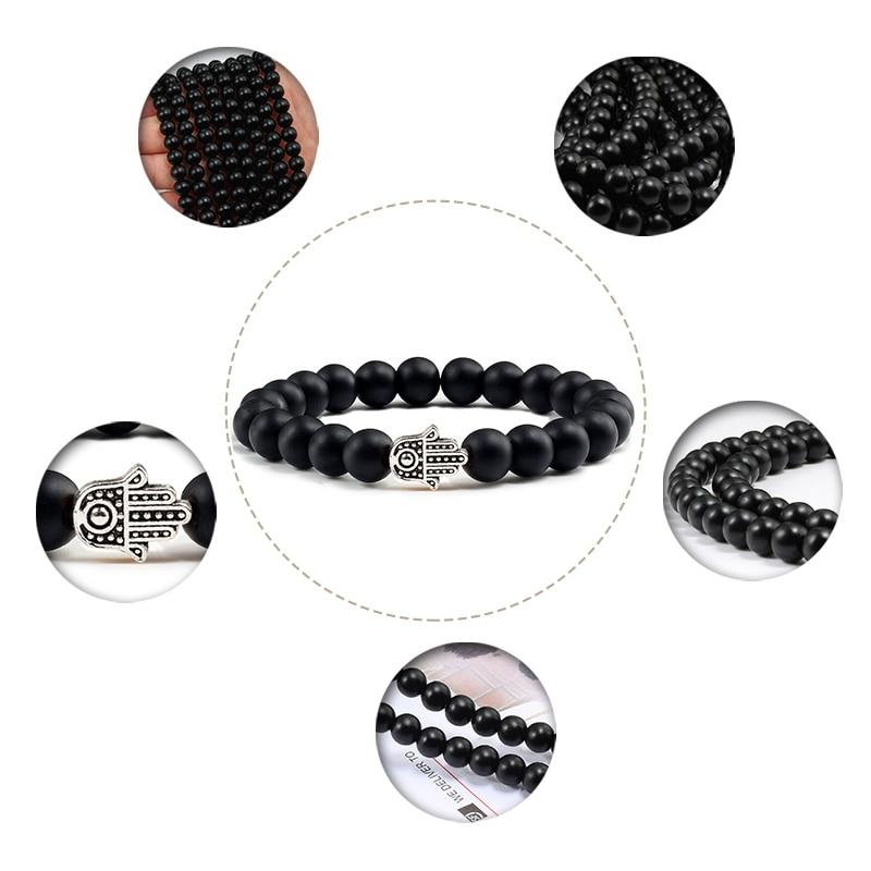 Charms Men Black Lava Matte Beads Natural Volcanic Stone Bracelets Bangles Women Yoga Prayer Jewelry Gold Sliver Hand Bracelet 5