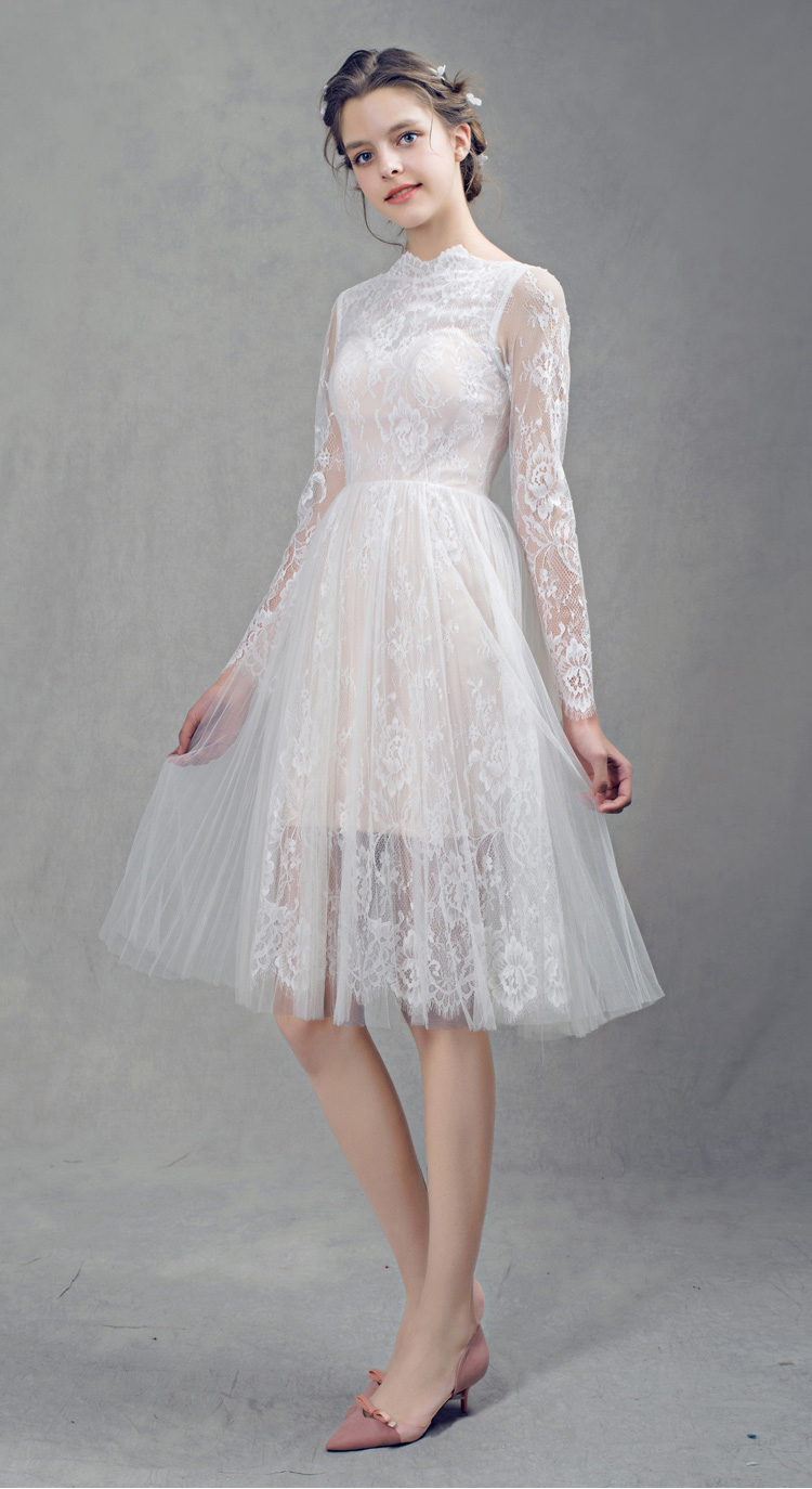 Free Shipping Lace Long Sleeves Short Wedding Dresses 2017 New