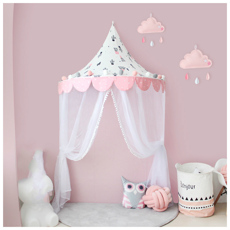 Kids Baby Bedding Round Dome Bed Cotton Canopy Netting Bedcover Mosquito Net Curtain Play Tent For Children Plush Ball Lace Net Perfect In Workmanship Mother & Kids Baby Bedding