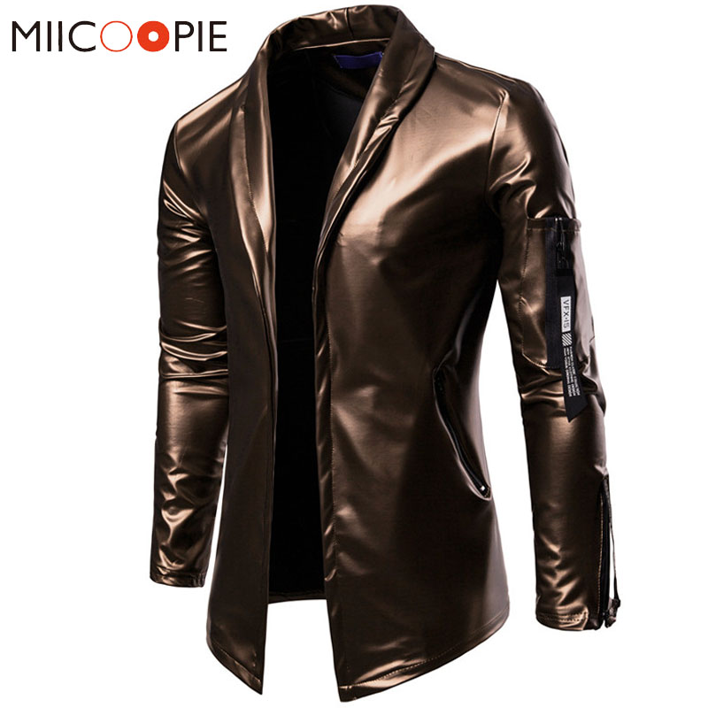 e60ca2e3cc6a Men Glossy Elastic PU Leather Zipper Jackets Suit Classic Slim Fit  Motorcycle Jacket Top Quality Male Coats Jaqueta De Couro 3XL-in Faux  Leather Coats from ...