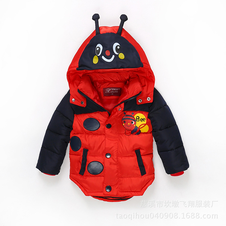 2016 new children's winter coat boys thick padded cotton jacket cartoon hooded outerwear