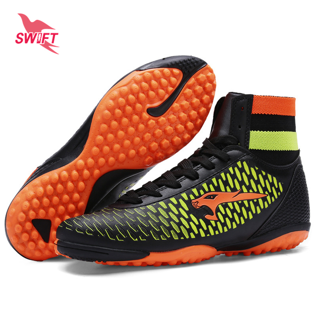 a778cad44b730 Alto Tornozelo Crianças Profissionais Tênis De Futsal Turf Futebol Botas  Novas Crianças Sapatos De Futebol Barato