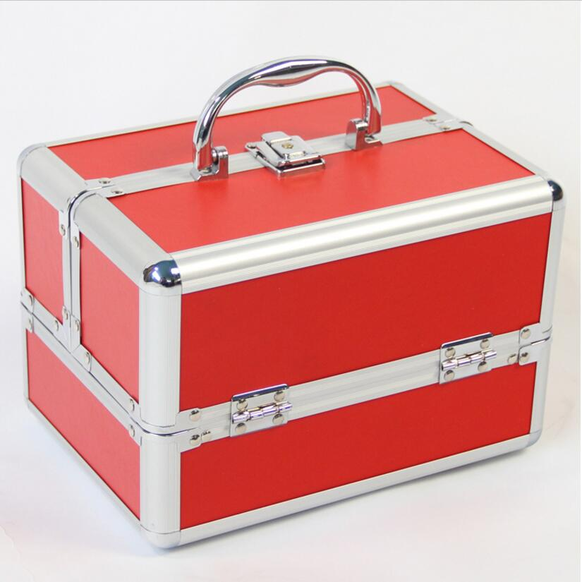 Portable Storage Box Make Up Organizer Red Jewelry Box Cosmetic Organizer Suitcase Women Travel Cute Makeup