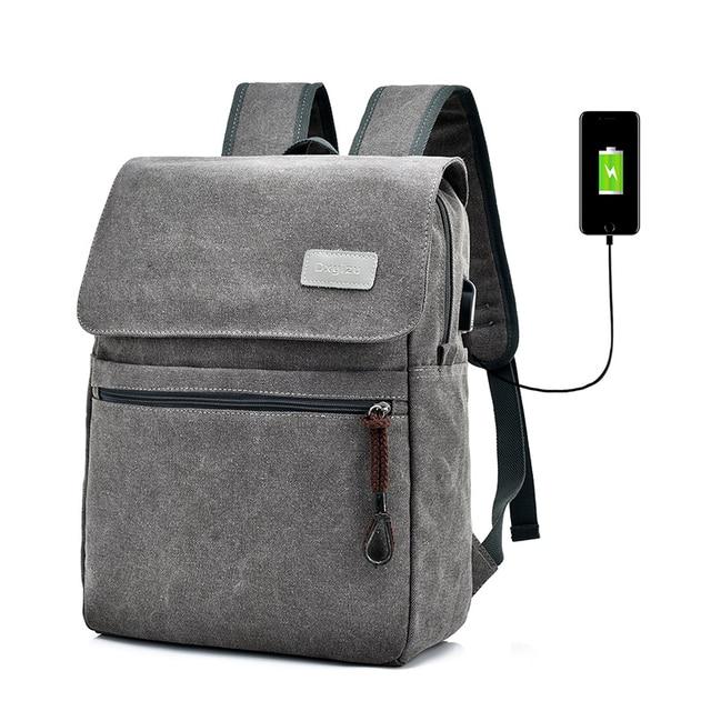 Novos Homens Mochila de lona mochila de Carga USB 15 polegada Sacos Bagpack Mochilas Laptop Mochila De Viagem Da Moda mochila saco um dos