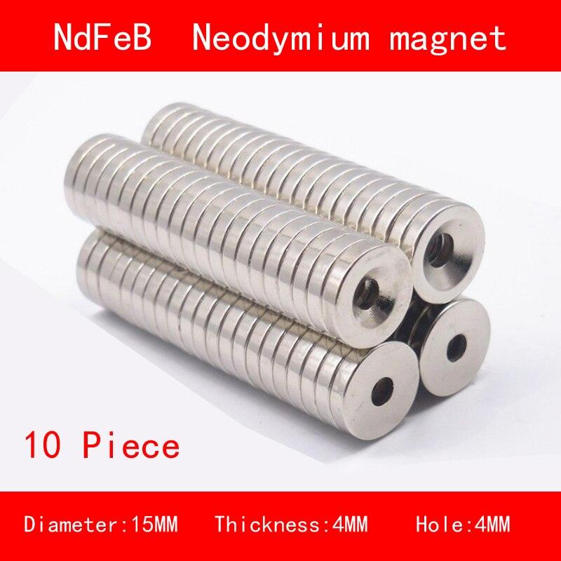 10PCS diameter 15mm thickness 4mm hole n35 Rare Earth strong Permanent NdFeB Neodymium Magnet