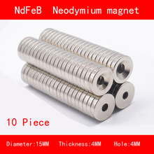10PCS diameter 15mm thickness 4mm hole n35 Rare Earth strong Permanent NdFeB Neodymium Magnet