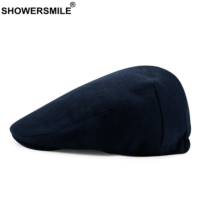Unisex Beret Cap Wool Beret Hats Men Winter Thick Warm Fitted Hats Male Vintage Classic Cap