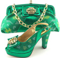 2017 New Design Italian Shoes And Matching Bags For Party Or wedding Dresses 10cm high heel bridal shoes in GREEN Color MM6609