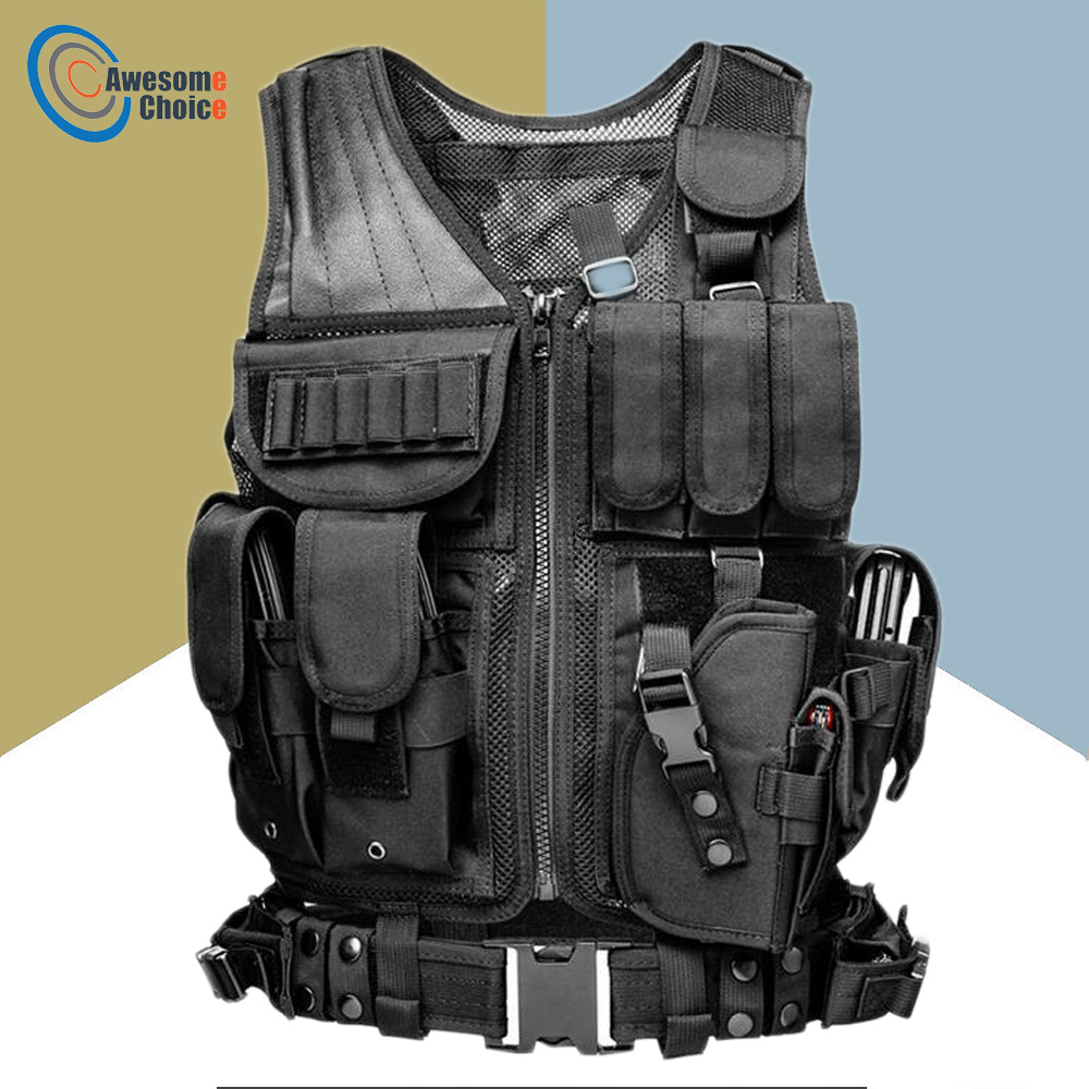 High Quality Tactical vest security outdoor training combat CS field protection vest For Paintball Game SWAT Team black protective vest security security vest cs game field wg essential