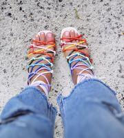 Радуга Бретели для нижнего белья узел Для женщин вырез Стильные сандалии пикантные туфли с открытым носком женские Кружево до Высокие кабл...