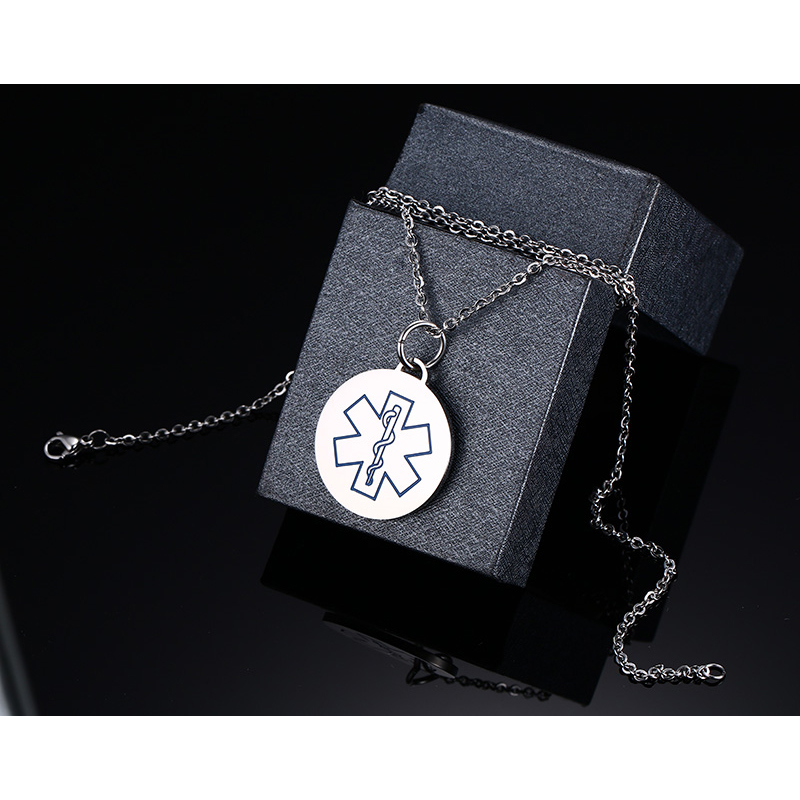 Vinterly fashion 34mm stainless steel bluered medical alert id vinterly fashion 34mm stainless steel bluered medical alert id pendant necklace round dog tag chain jewelry in pendants from jewelry accessories on aloadofball Images