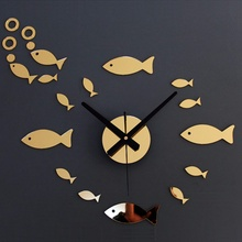 Simple Mute 3D Wall Clock DIY Acrylic Mirror Small Fish Sticker Living Room Kid's House Children Gifts Home Decoration
