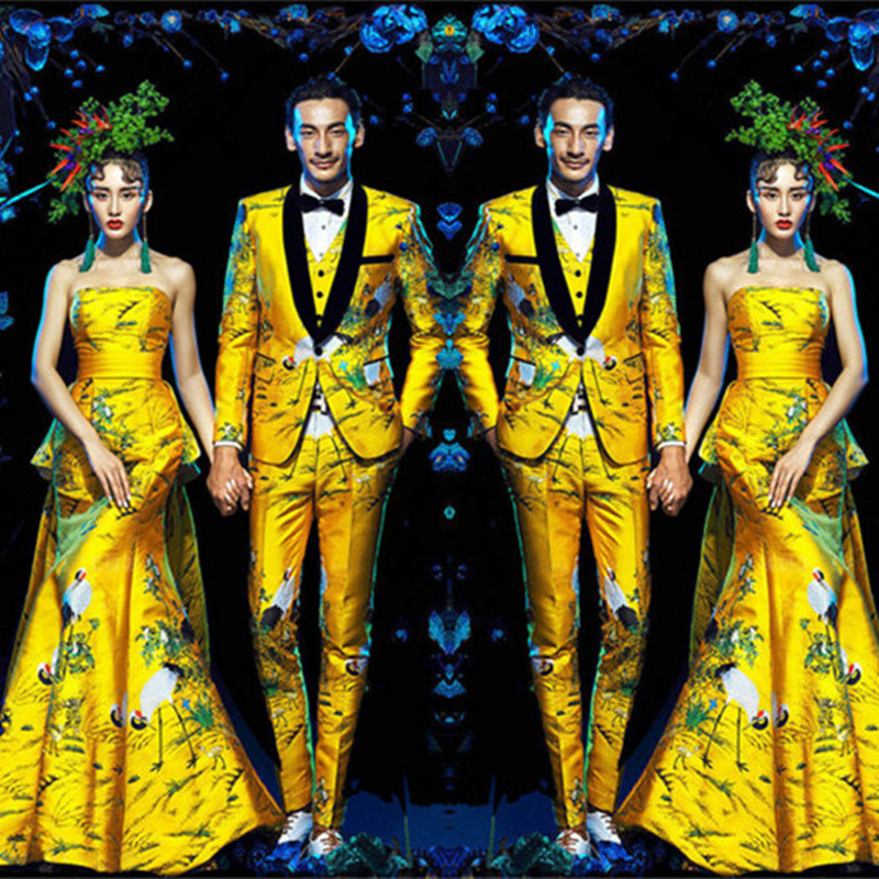2018 New Fashion Brand Men's Suits Yellow Jacquard Lovers' Clothes Slim Fit Wwdding Suits Blazers Groom Prom Suit Jacket Pants