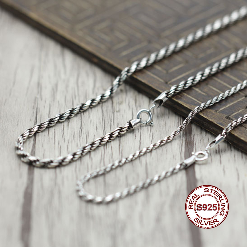 S925 Men's Sterling Silver Necklace Personality classics Simple and generous retro series Twist twist shape Send a gift to love