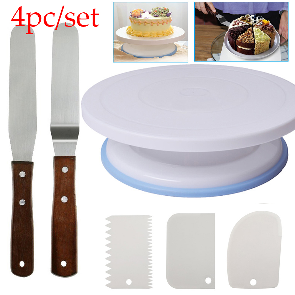 6PCs Set Plastic Cake Turntable Rotating Cake Plastic Dough Knife Decorating 10 Inch Cream Cakes Stand