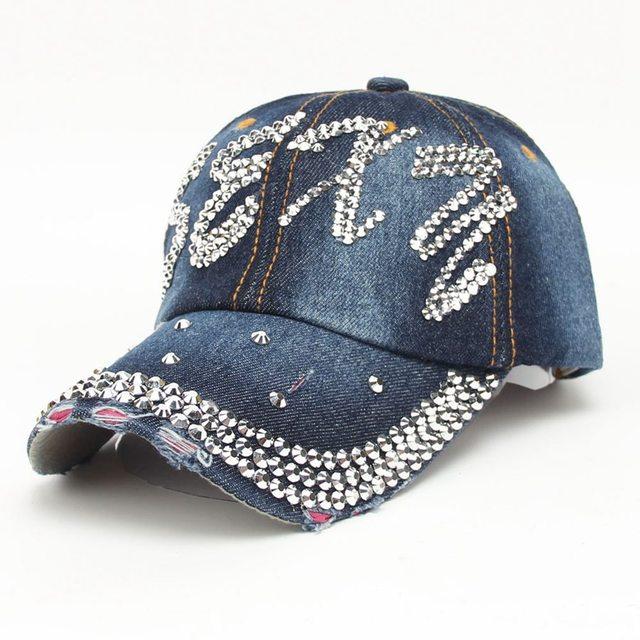 1d66697a36c hot sale summer sexy bling rhinestones jeans baseball hat for women and men  unisex sun casquette cap fashion snapback hat Bone