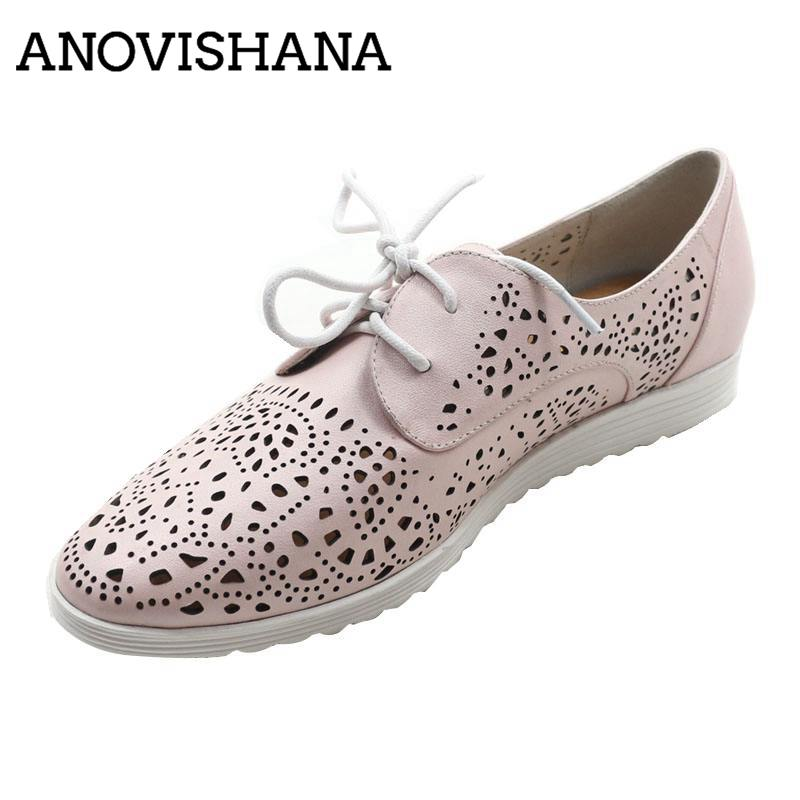 Online Shop ANOVISHANA Stylish Flat Shoes Woman Loafers Shoes Real Leather Shoes  Ladies Lace Up Carved Hollow Out Fretwork Sapato DR894 3162  b5d1535af90e