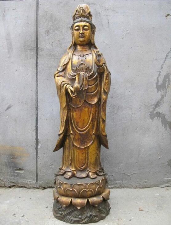 """28 """"Tibet Bouddhisme Tibétain Classique Bronze Kwan-yin Bodhisattva guan yin Bouddha Statue"""