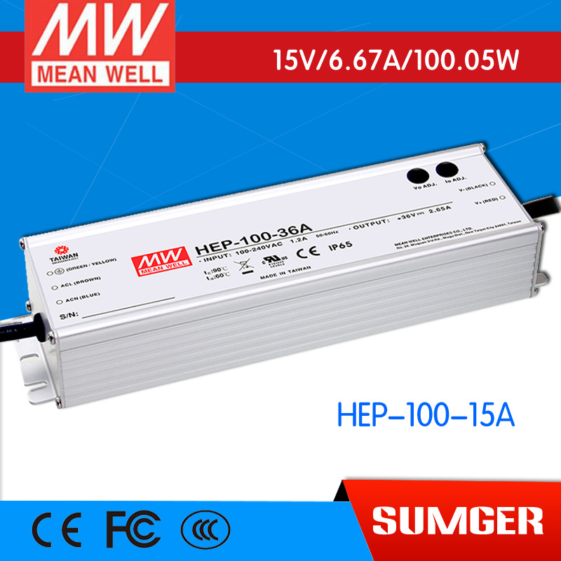 1MEAN WELL original HEP-100-15A 15V 6.67A meanwell HEP-100 15V 100.05W Single Output Switching Power Supply [freeshipping 1pcs] mean well original rs 25 15 15v 1 7a meanwell rs 25 25 5w single output switching power supply