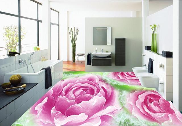 3d Suelo Personalizado 3d Papel Tapiz Mural Jade Rosas 3d Azulejos - Azulejos-rosas