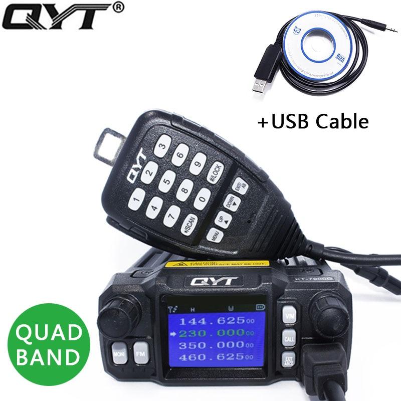 QYT KT-7900D Mobile Radio Quadri-Bande Quad-veille 136-174 MHz/220-260 MHz/350-390 MHz/400-480 MHZ Autoradio KT7900D 4 Bandes CB Radio