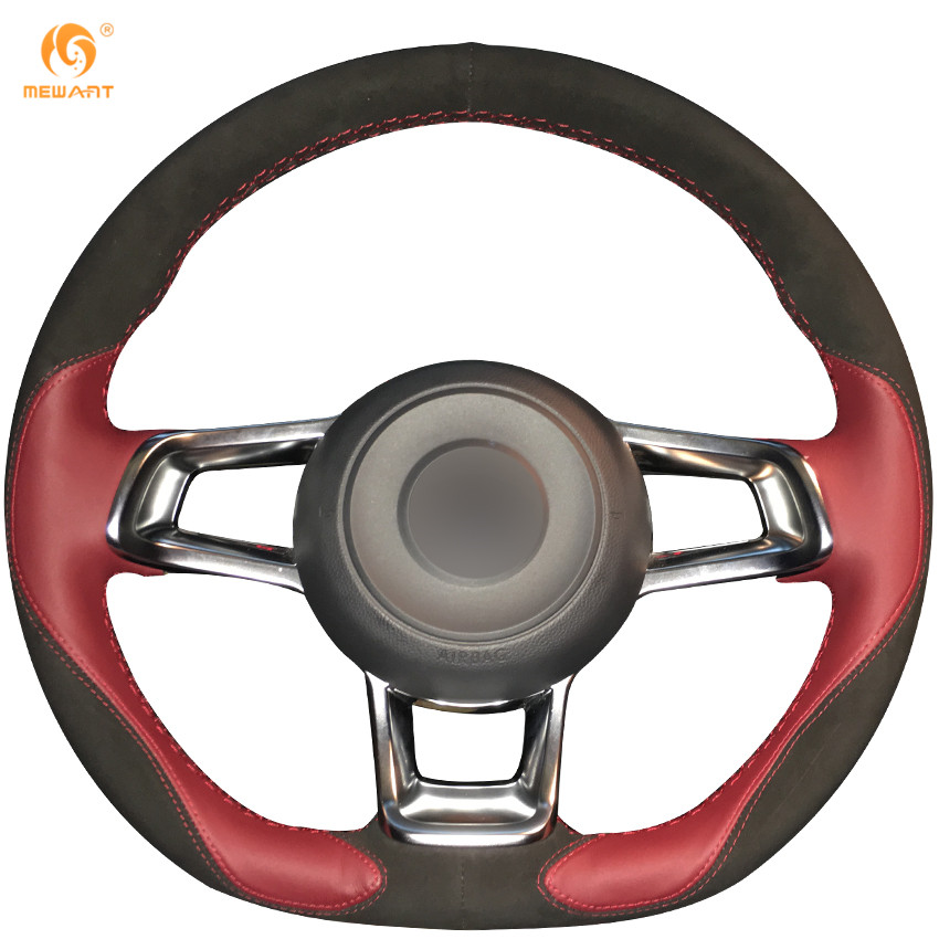 mewant wine red leather black suede car steering wheel. Black Bedroom Furniture Sets. Home Design Ideas