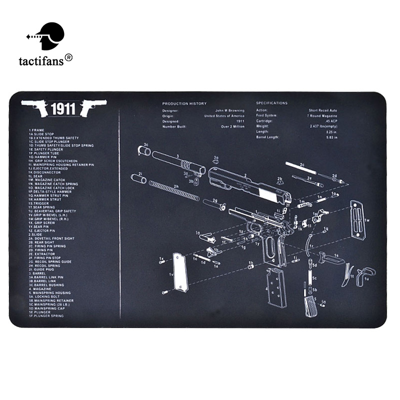 Tactical Gunsmith Cleaning Bench Mat Rubber Carpet Waterproof Non-Slip Mat With Diagram Parts And Instructions Glock P226 1911