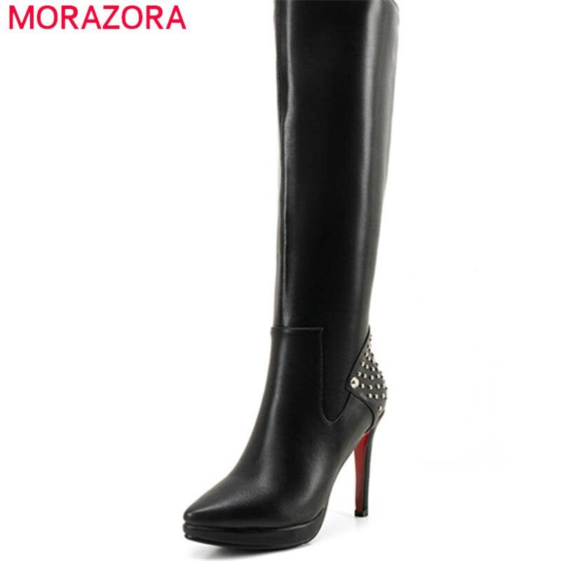 Здесь продается  MORAZORA 2018 genuine leather autumn winter shoes woman pointed toe short plush knee high boots platform high heels lady boots  Обувь