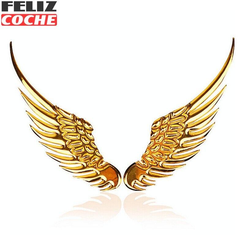 1 Par de Coches de Estilo de La Moda de Metal Pegatinas Wings 3D Etiqueta Engoma