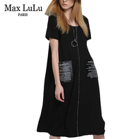 Max LuLu Plus Size Fashion European Brand Womens Casual Long Dresses Zipper Pockets Ladies Summer Maxi Dress Black Vestidos 5XL