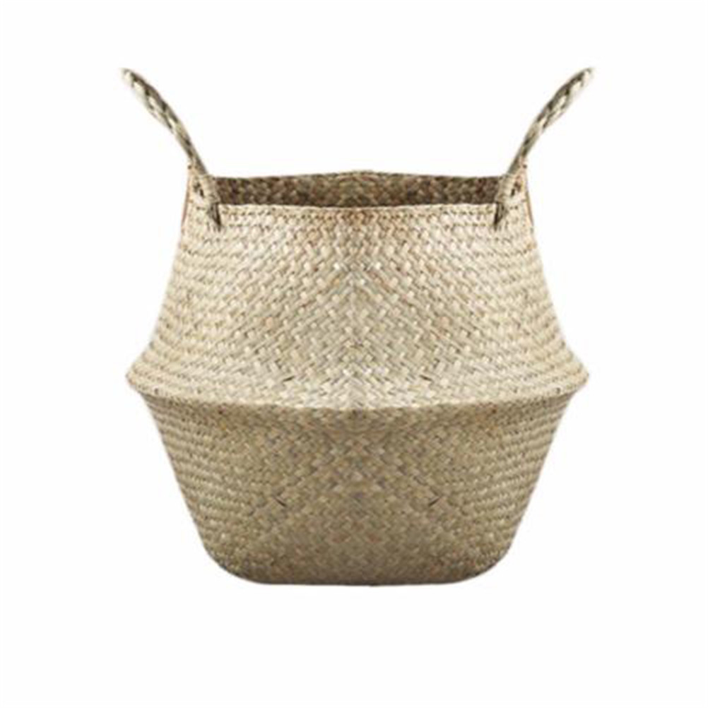 Storage Basket Rattan Straw Basket Wicker Seagrasss Folding Laundry Flower Pot Flower Vase Wedding Home Garden Hanging Basket