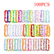 50/100pcs Hawaiian Leis Garland Artificial Flower Necklace Birthday Bridal Party Fun Fancy Dress Supplies Beach Decor Ideas