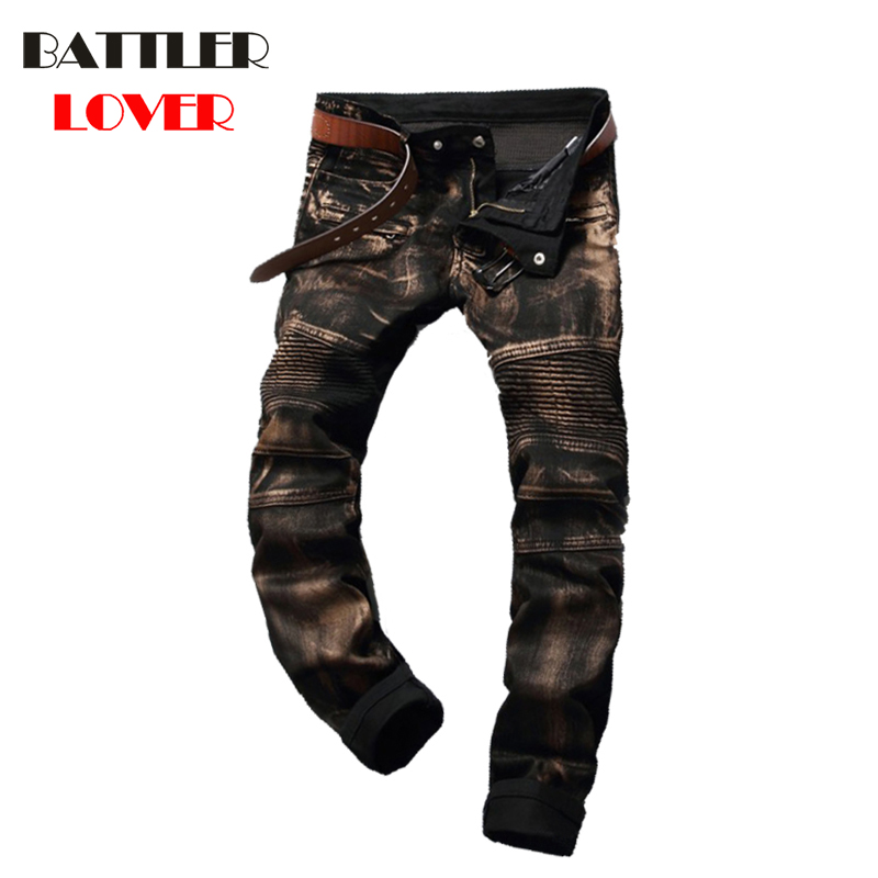 Elastic Motor Jeans Men Fear of God Biker Jeans Gold Paint Trousers Mens Hip Hop Jean Pant Males Casual Luxury Brand Slim Pants men s cowboy jeans fashion blue jeans pant men plus sizes regular slim fit denim jean pants male high quality brand jeans