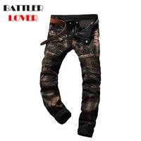 Elastic Motor Jeans Men Fear of God Biker Jeans Gold Paint Trousers Mens Hip Hop Jean Pant Males Casual Luxury Brand Slim Pants