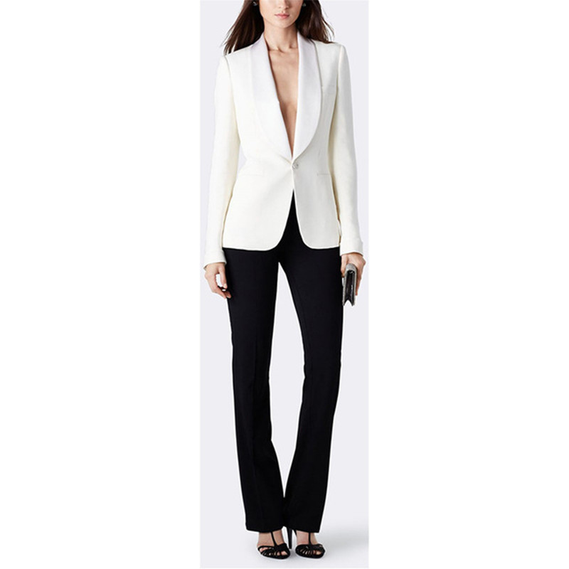 new Pants suit Women Trousers Business Suits Work Jacket Black Ivory Single Breasted Women Ladies Uniforms Office Suit Formal Pa