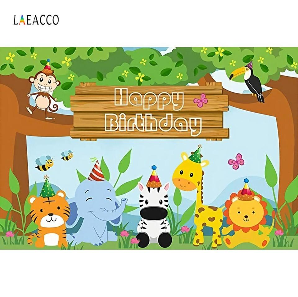 Laeacco Baby Cartoon Green Jungle Safari Birthday Party Poster Banner Photo Backgrounds Photography Backdrops For Photo Studio Background Aliexpress