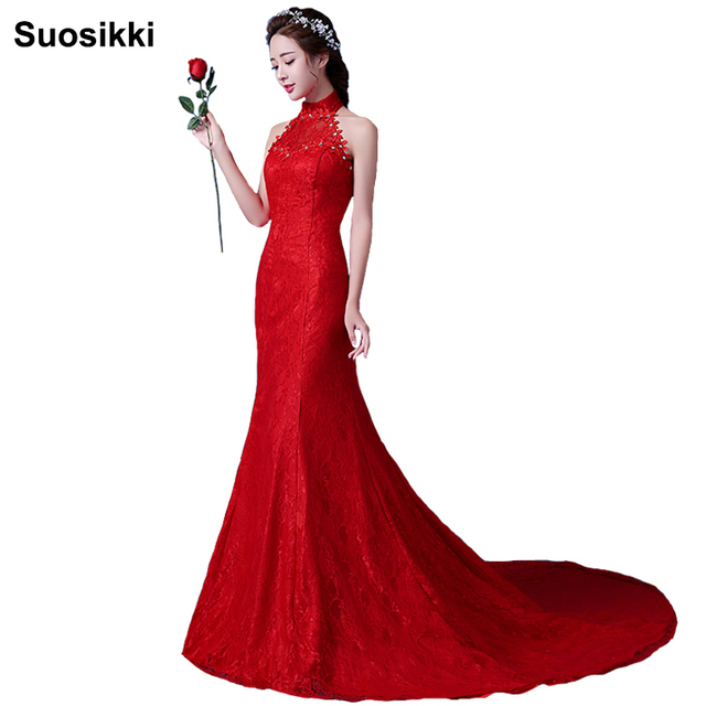 Suosikki High Neck Lace Wedding Dress Mermaid Long Fishtal Sweep Train Red  Bridal Gown robe de mariage 046632ac895a