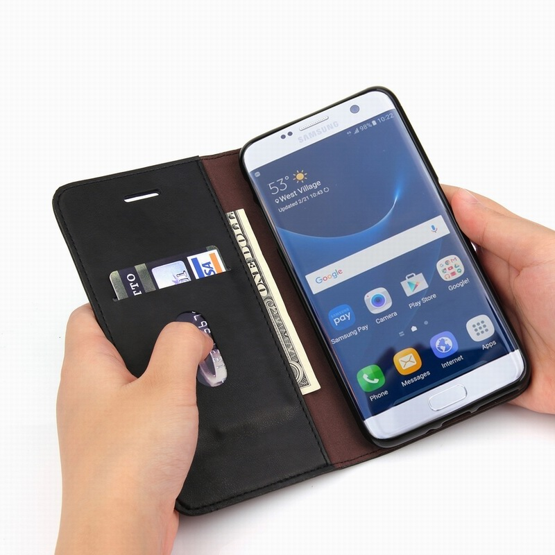 Lyxigt lädertelefonfodral för Samsung S10 S9 S8 Plus S10e - Reservdelar och tillbehör för mobiltelefoner - Foto 3