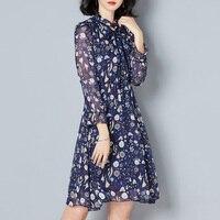 2018 New Spring Women Korea Style Wrist Sleeve Print Chiffon Dress Fashion Vintage Stand Bow Chiffon