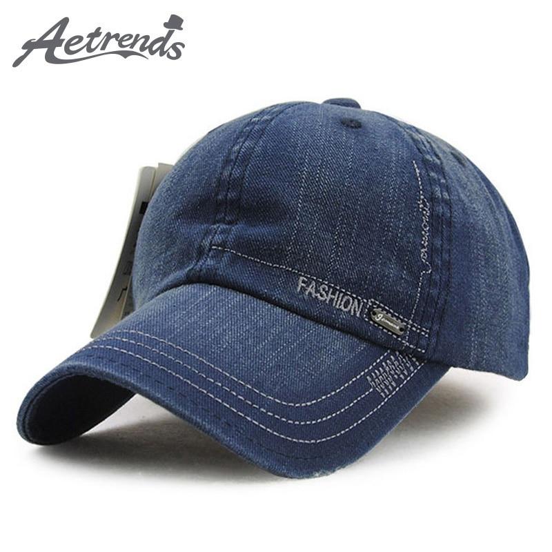 [AETRENDS] Märke baseball keps denim bomull trucker keps hiphop snapback hattar för män koreanska stiliga gorras para hombre Z-2207