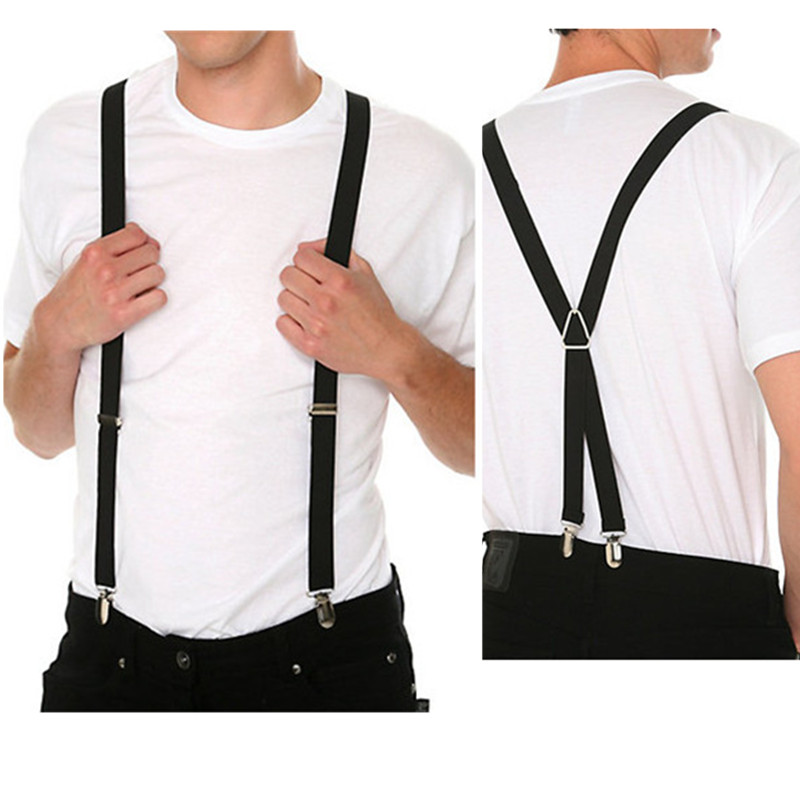 120CM Length Solid Color Adult Men's Suspenders 2.5 Cm Adjustable Elastic Strap X- Back Braces For Women Shirt Stays BD002