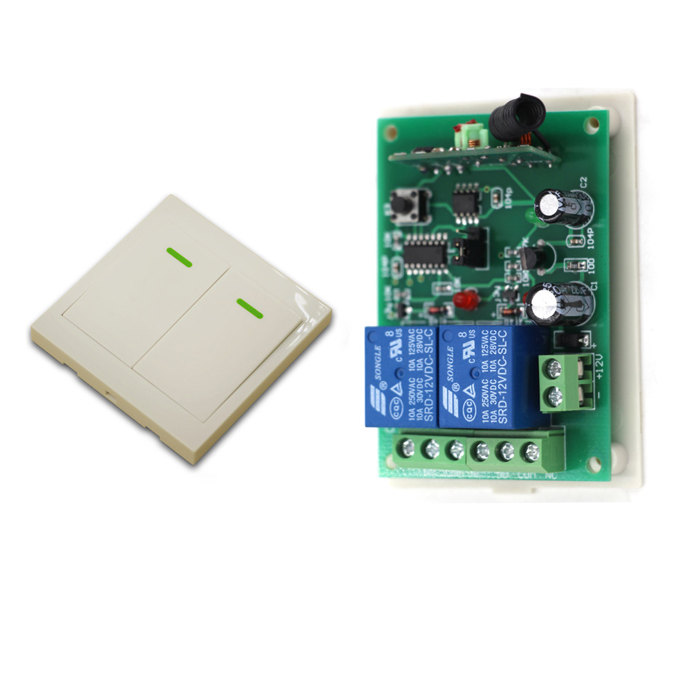 Smart Home Wireless Remote Control Switch System 2CH 2 Way Relay Receiver + Wall Transmitter Radio Controlled Switch 315/433Mhz
