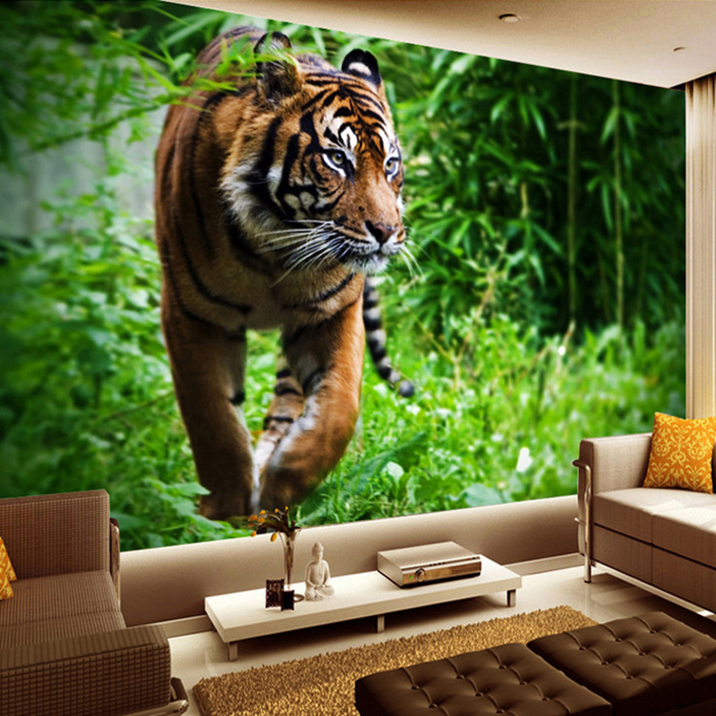 Custom Size 3D Photo Wallpaper Wall Painting Tiger Large Murals Living Room Background Wall Decoration Mural Papel De Parede 3D custom photo wallpaper tiger animal wallpapers 3d large mural bedroom living room sofa tv backdrop 3d wall murals wallpaper roll