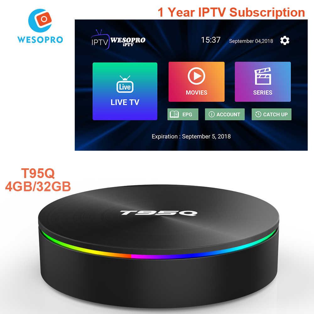 T95Q 4G32G الروبوت 8.1 التلفزيون مربع مع العربية الفرنسية البرتغالية البولندية الألمانية إيطاليا اسبانيا الهولندية السويد المملكة المتحدة الولايات المتحدة CA IPTV m3U