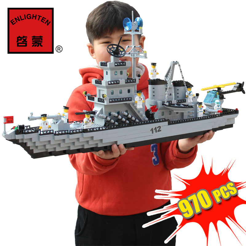 970Pcs Enlighten Military Educational Building Blocks Toys For Children Gifts Army War Battleship Hero Weapon Navy enlighten building blocks navy frigate ship assembling building blocks military series blocks girls